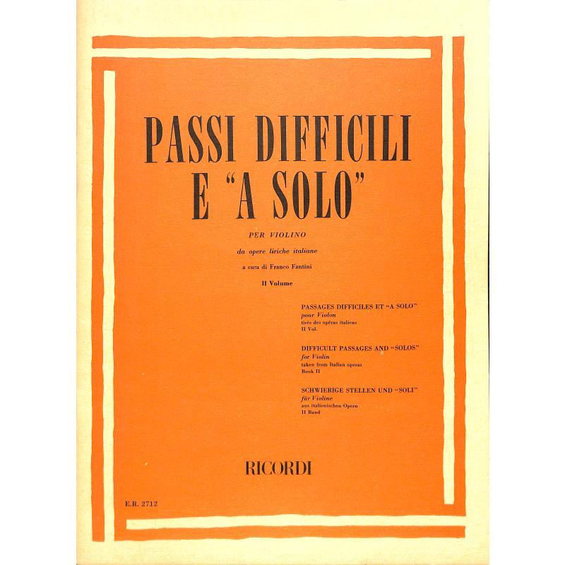 Titelbild für ER 2712 - PASSI DIFFICILI E A SOLO VOL.2