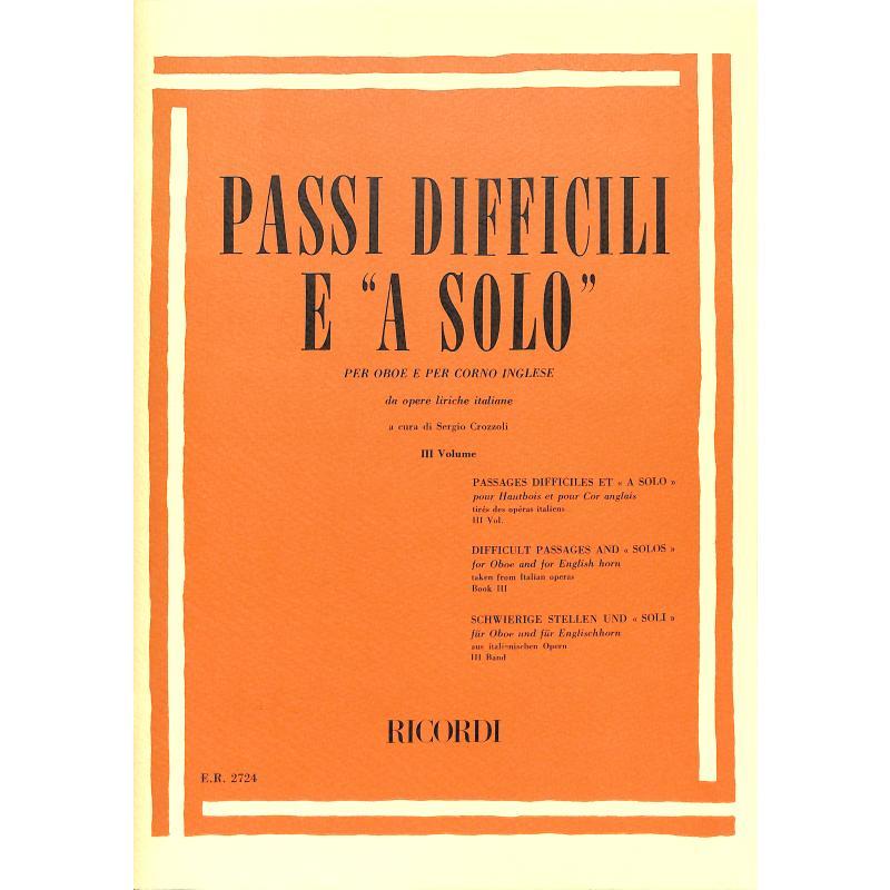 Titelbild für ER 2724 - PASSI DIFFICILI E A SOLO VOL.3