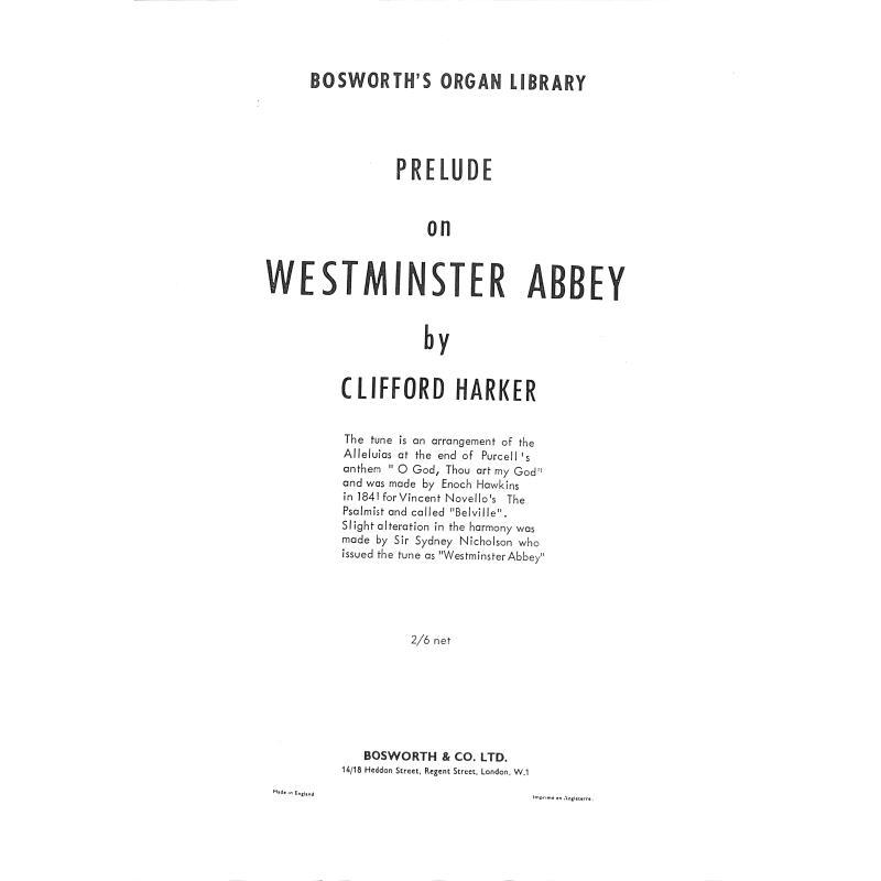 Titelbild für BOE 4821 - VORSPIEL UEBER WESTMINSTER ABBEY