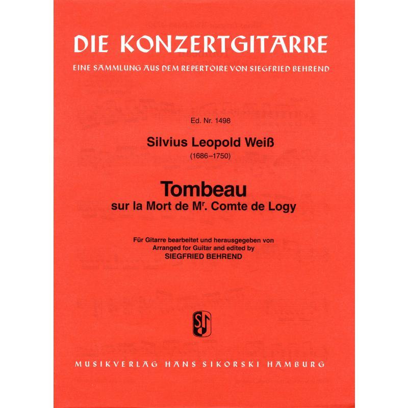 Notenbild für SIK 1498 - TOMBEAU SUR LA MORT DE MR COMTE DE LOGY