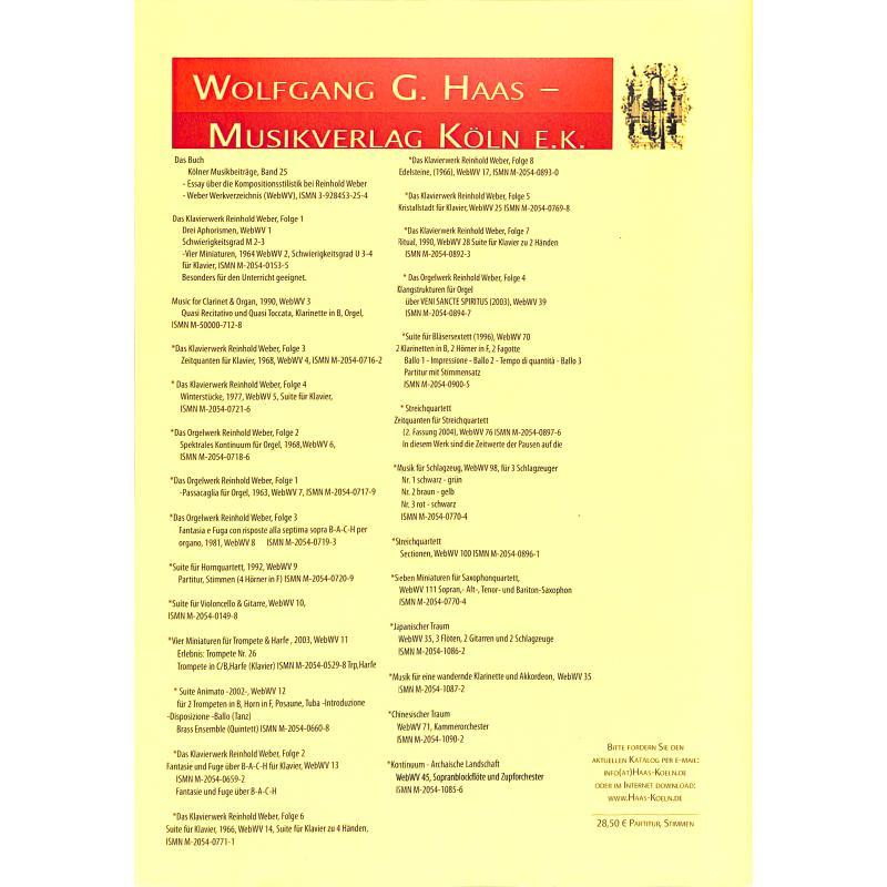Notenbild für HAAS 1088-9 - PANTOMIME FUER BLAESER WEBWV 226