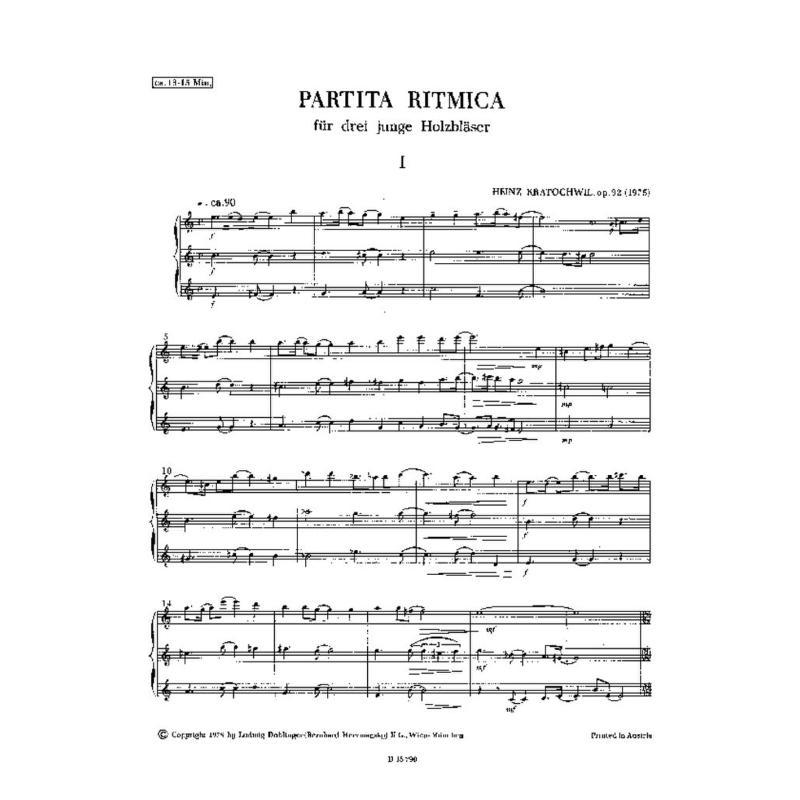 Titelbild für DO 05335 - PARTITA RITMICA OP 92