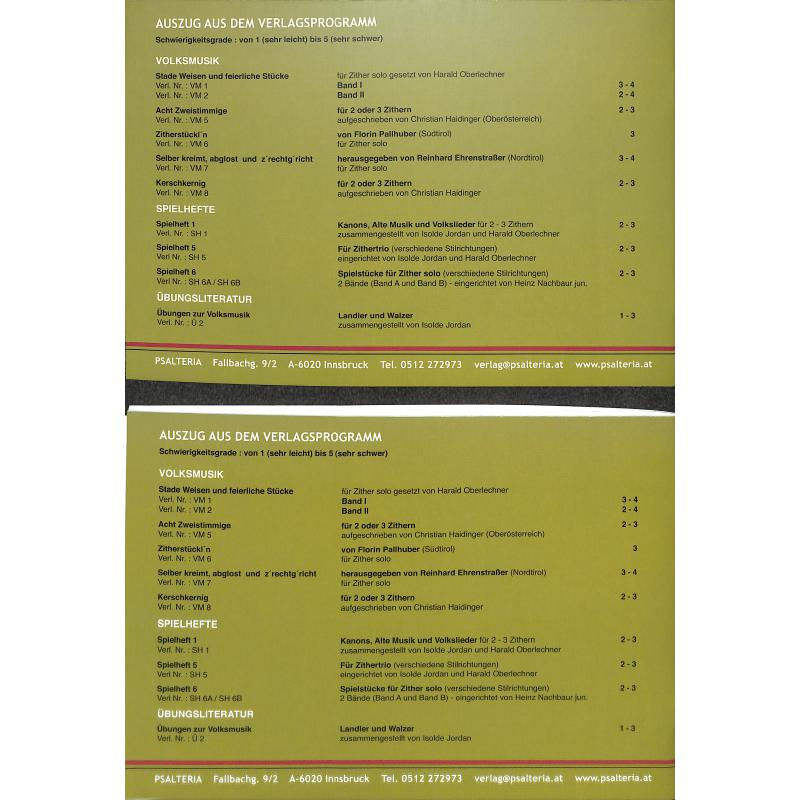 Notenbild für PSALTERIA -VM3 - ZWEISTIMMIGE ZITHERSTUECK'L AUS TIROL + BAYERN