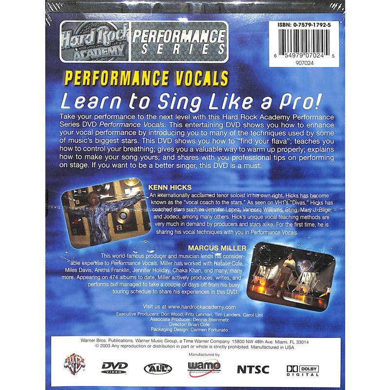 Notenbild für DVD 907024 - PERFORMANCE VOCALS (HARD ROCK ACADEMY)