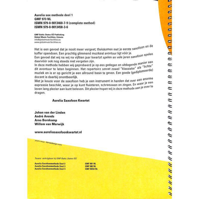 Notenbild für BERGEZ 973 - AURELIA SAXOFOONMETHODE 1