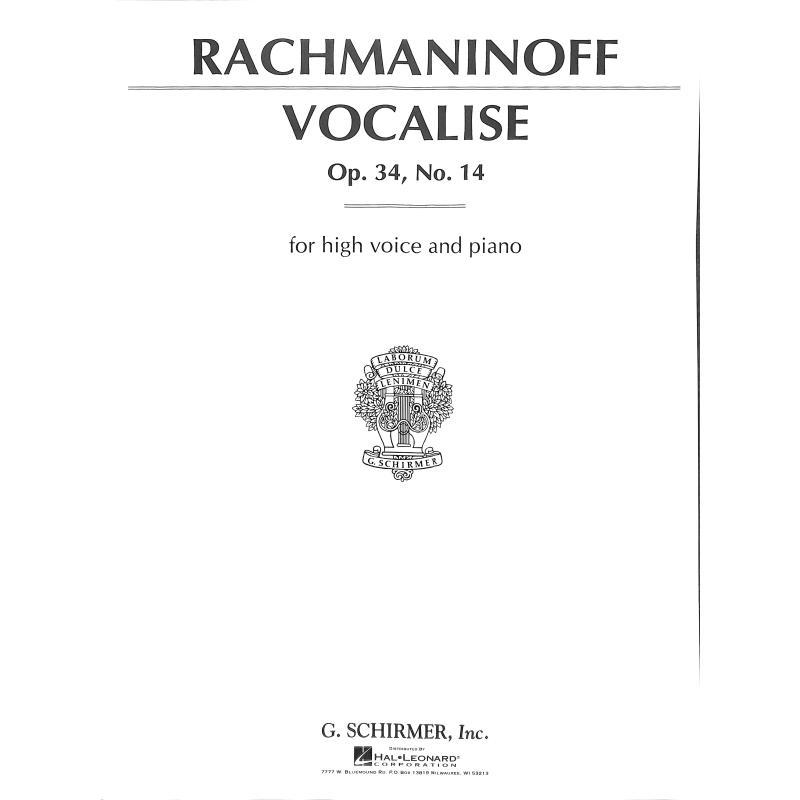Titelbild für GS 50001 - VOCALISE OP 34/14