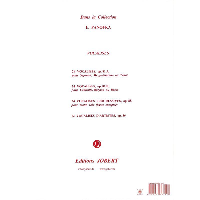 Notenbild für JOBERT 3526 - 24 VOCALISES OP 81B - CONTRALTO