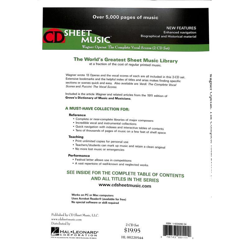 Notenbild für SUBITO 3040-0034 - WAGNER OPERAS - THE VOCAL SCORES