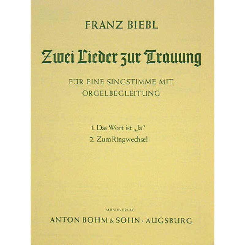 Titelbild für BOEHM 9993-75 - 2 LIEDER ZUR TRAUUNG