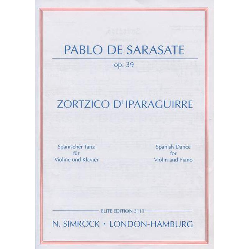 Titelbild für EE 3119 - ZORTZICO D'IPARAGUIRRE OP 39