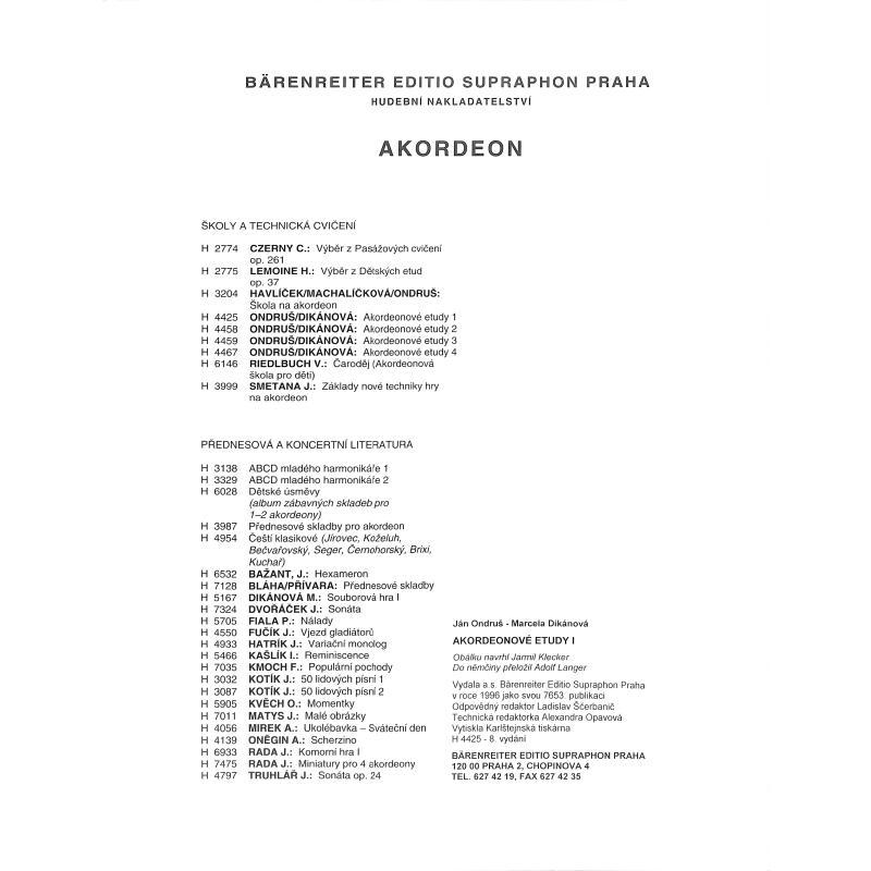 Notenbild für PRAHA 4425 - AKKORDEON ETUEDEN 1