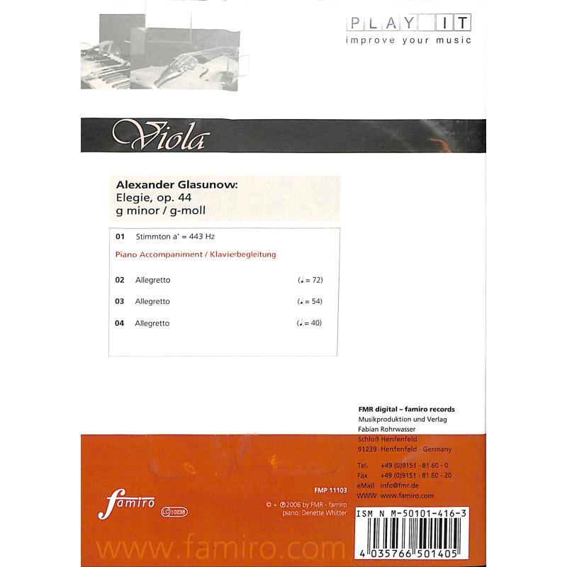 Notenbild für FMP 11103 - ELEGIE G-MOLL OP 44 - VA KLAV