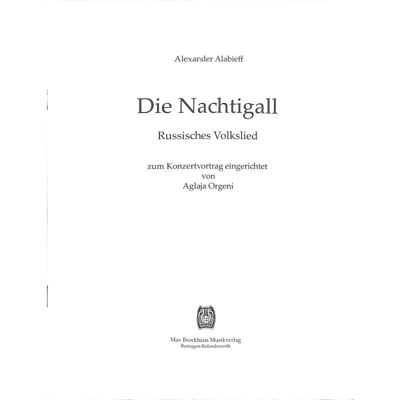 Titelbild für BROCKHAUS 50001 - DIE NACHTIGALL