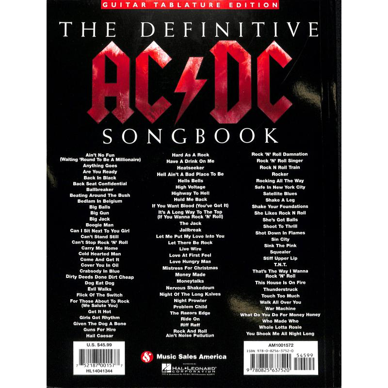 Notenbild für MSAM 1001572 - THE DEFINITIVE AC DC SONGBOOK - UPDATED EDITION