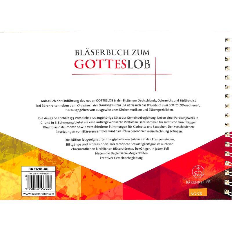 Notenbild für BA 11218-46 - BLAESERBUCH ZUM GOTTESLOB