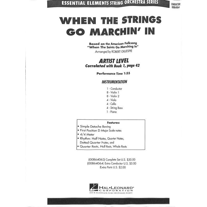Titelbild für HL 864064 - When the strings go marchin' in | When the saints go marchin' in