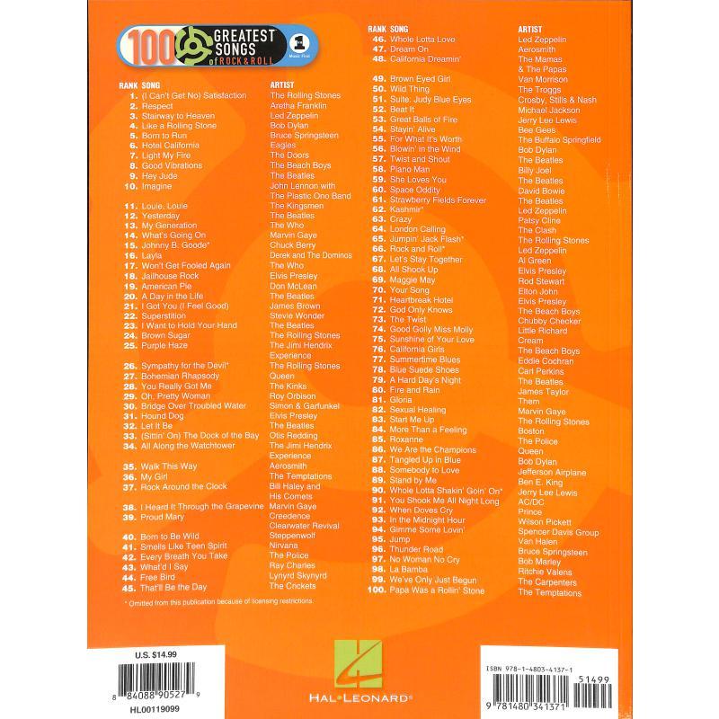 Notenbild für HL 119099 - VH 1'S 100 GREATEST SONGS OF ROCK + ROLL