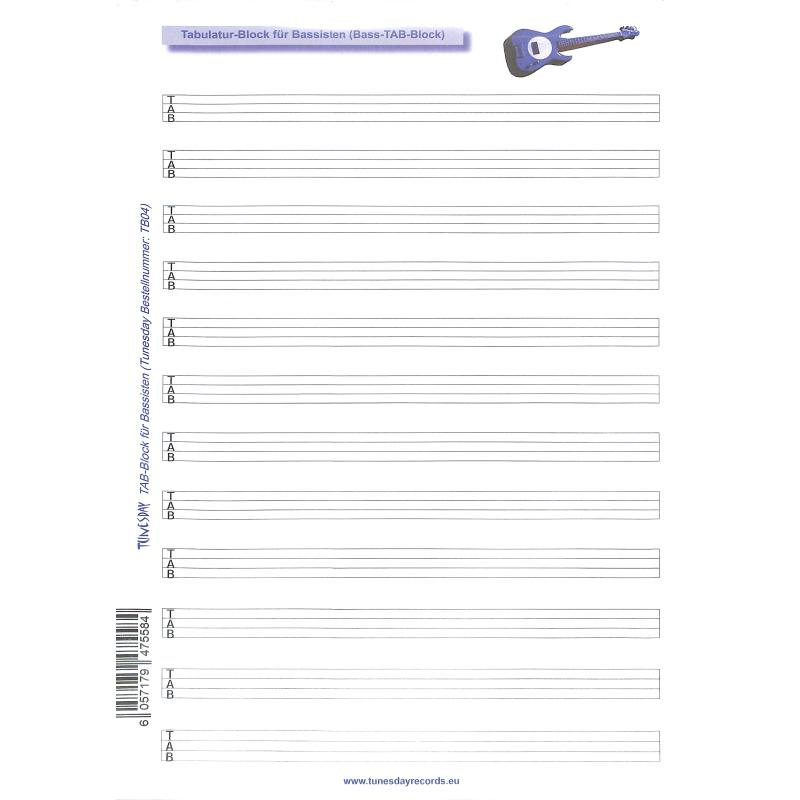 Titelbild für TUN -TB04 - Notenblock 50 Blatt