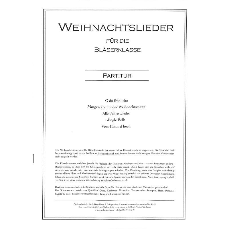 Titelbild für GOLDBACH -KLM02 - Weihnachtslieder für die Blaeserklasse