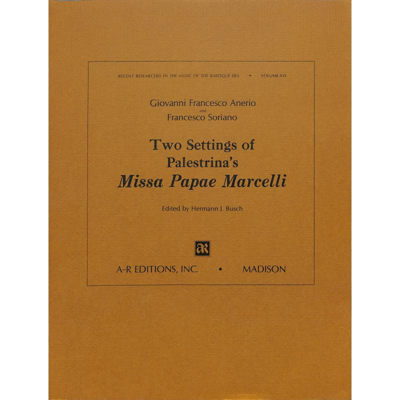 Titelbild für AREDITION -B016 - 2 Settings of Palestrina's Missa Papae Marcelli