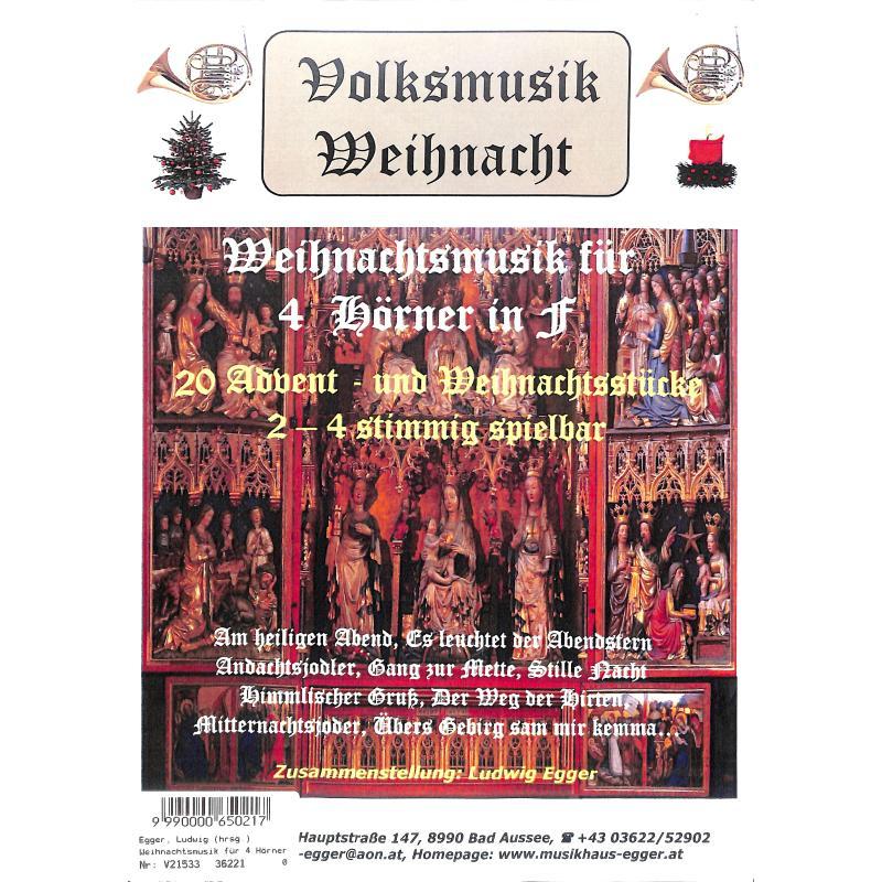 Titelbild für KOEBL -V21533 - Volksmusik Weihnacht | 20 Advent und Weihnachtsstücke