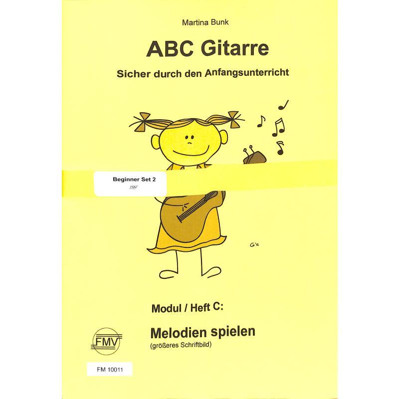 Titelbild für FMV 10011 - ABC Gitarre A B + C | Melodien spielen - Grossdruck | Basisheft | Übungen auf leeren Saiten